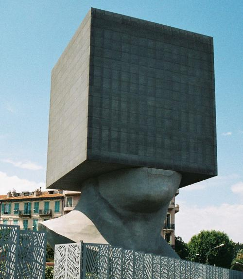Statue of a head in a box
